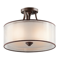 "Picture for category Semi Flush 3 Light Fixtures With Mission Bronze Finish Medium Bulb Type 15"" 225 Watts"