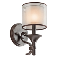 "Picture for category Wall Sconces 1 Light Fixtures With Mission Bronze Finish Candelabra Bulb Type 5"" 60 Watts"