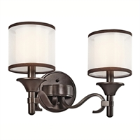 "Picture for category Bathroom Vanity 2 Light Fixtures With Mission Bronze Finish Candelabra Bulb Type 14"" 120 Watts"