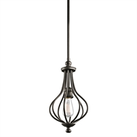 "Picture for category Mini Pendants 1 Light Fixtures With Olde Bronze Finish Medium Bulb Type 8"" 60 Watts"