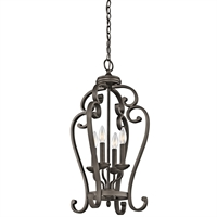 "Picture for category Pendants 4 Light Fixtures With Olde Bronze Finish Candelabra Bulb Type 15"" 240 Watts"