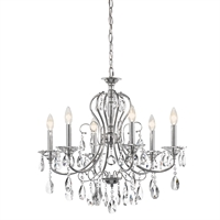 Picture for category Chandeliers 6 Light With Chrome Finished Candelabra Base Bulb 25 inch 360 Watts