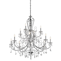 Picture for category Chandeliers 12 Light With Chrome Finished Candelabra Base Bulb 44 inch 720 Watts