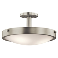"Picture for category Semi Flush 3 Light Fixtures With Brushed Nickel Finish Medium Bulb Type 18"" 300 Watts"