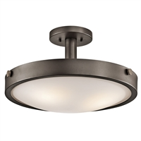 "Picture for category Semi Flush 3 Light Fixtures With Olde Bronze Finish Medium Bulb Type 18"" 300 Watts"