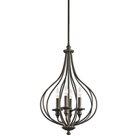 "Picture for category Pendants 4 Light Fixtures With Olde Bronze Finish Candelabra Bulb Type 16"" 240 Watts"
