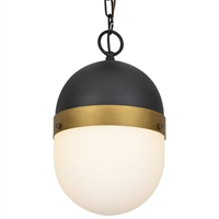 Picture for category Crystorama Lighting CAP-8507-MK-TG Outdoor Pendant Matte Black and Textured Gold Steel Capsule