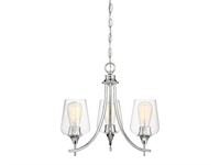 Picture for category Chandeliers 3 Light With Polished Chrome Finish Metal/Glass E Bulb 18 inch 180 Watts
