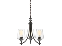 Picture for category Chandeliers 3 Light With English Bronze Finish Metal/Glass E Bulb 18 inch 180 Watts