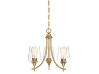 Picture for category Chandeliers 3 Light With Warm Brass Finish Metal/Glass E Bulb 18 inch 180 Watts