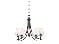 Picture for category Chandeliers 5 Light With English Bronze Finish Metal/Glass E Bulb 23 inch 300 Watts