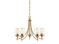 Picture for category Chandeliers 5 Light With Warm Brass Finish Metal/Glass E Bulb 23 inch 300 Watts