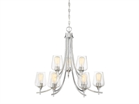 Picture for category Chandeliers 9 Light With Polished Chrome Finish Metal/Glass E Bulb 30 inch 540 Watts