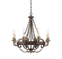 Picture for category Chandeliers 8 Light With Fossil Stone Finish Candelabra Bulbs 29 inch 480 Watts