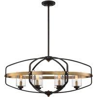Picture for category Island Lighting 6 Light W/ English Bronze and Warm Brass Cand. 32 inch 360 Watt