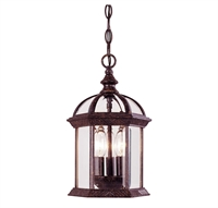 Picture for category Outdoor Pendant 3 Light With Rustic Bronze Finish Candelabra Bulbs 8 inch 120 Watts