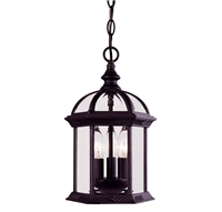 Picture for category Outdoor Pendant 3 Light With Textured Black Finish Candelabra Bulbs 8 inch 120 Watts
