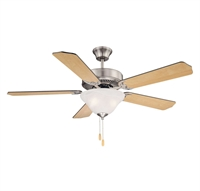 Picture for category Indoor Ceiling Fans 2 Light With Satin Nickel Finished E Bulbs 52 inch 26 Watts