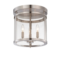 Picture for category Semi Flush 3 Light With Satin Nickel Finished Candelabra Bulbs 13 inch 180 Watts