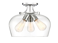 Picture for category Semi Flush 3 Light With Polished Chrome Finish Metal/Glass E Bulb 13 inch 300 Watts