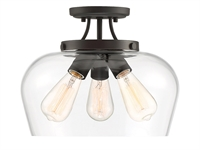 Picture for category Semi Flush 3 Light With English Bronze Finish Metal/Glass E Bulb 13 inch 300 Watts