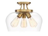 Picture for category Semi Flush 3 Light With Warm Brass Finished Metal/Glass E Bulb 13 inch 300 Watts