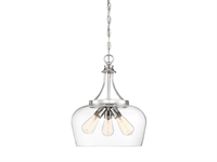 Picture for category Pendants 3 Light With Polished Chrome Finish Metal/Glass E Bulb 15 inch 300 Watts