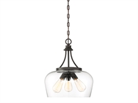 Picture for category Pendants 3 Light With English Bronze Finish Metal/Glass E Bulb 15 inch 300 Watts