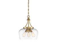 Picture for category Pendants 3 Light With Warm Brass Finish Metal/Glass Material E Bulb 15 inch 300 Watts