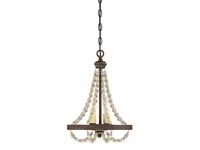 Picture for category Chandeliers 2 Light With Fossil Stone Finish Metal Wood Poly C Bulb 12 inch 120 Watts