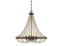Picture for category Chandeliers 4 Light With Fossil Stone Finish Metal Wood Poly C Bulb 26 inch 240 Watts