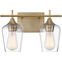 Picture for category Bathroom Vanity 2 Light With Warm Brass Finish Incandescent Bulbs 14 inch 200 Watts