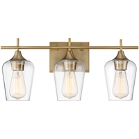 Picture for category Bathroom Vanity 3 Light With Warm Brass Finish Incandescent Bulbs 21 inch 300 Watts