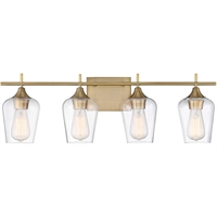 Picture for category Bathroom Vanity 4 Light With Warm Brass Finish Incandescent Bulbs 29 inch 400 Watts