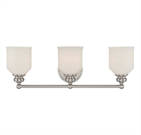 Picture for category Bathroom Vanity 3 Light With Satin Nickel Finish Incandescent Bulbs 24 inch 300 Watts