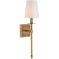 Picture for category Wall Sconces 1 Light With Warm Brass Finish Candelabra Base Bulbs 5 inch 60 Watts