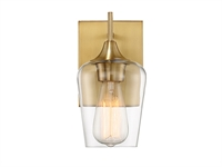 Picture for category Wall Sconces 1 Light With Warm Brass Finish Metal/Glass E Bulb 5 inch 100 Watts