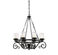 Picture for category Outdoor Pendant 8 Light With Black Finish Candelabra Base Bulbs 32 inch 480 Watts