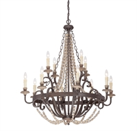 Picture for category Chandeliers 12 Light With Fossil Stone Finish Candelabra Bulbs 38 inch 720 Watts