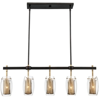 Picture for category Island Lighting 5 Light With Warm Brass with Bronze Accents Cand. 40 inch 300 W