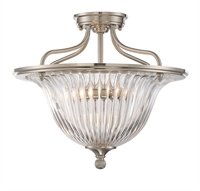 Picture for category Semi Flush 3 Light With Satin Nickel Finished Candelabra Bulbs 16 inch 180 Watts