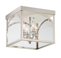 Picture for category Flush Mounts 4 Light With Polished Nickel Finish Candelabra Bulbs 12 inch 240 Watts