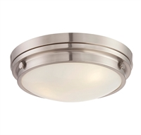 Picture for category Flush Mounts 3 Light With Satin Nickel Finish Incandescent Bulbs 15 inch 180 Watts