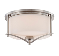 Picture for category Flush Mounts 2 Light With Satin Nickel Finish Incandescent Bulbs 15 inch 200 Watts
