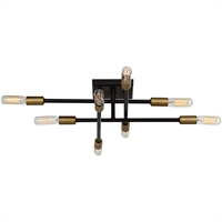 Picture for category Semi Flush 8 Light W/ Bronze with Brass Accents Finish Candelabra 20 inch 480 W