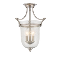 Picture for category Semi Flush 3 Light With Satin Nickel Finished Candelabra Bulbs 12 inch 180 Watts