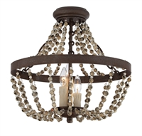 Picture for category Semi Flush 3 Light With Fossil Stone Finished Candelabra Bulbs 18 inch 180 Watts