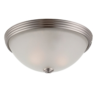 Picture for category Flush Mounts 2 Light With Satin Nickel Finish Incandescent Bulbs 11 inch 80 Watts
