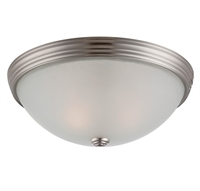 Picture for category Flush Mounts 2 Light With Satin Nickel Finish Incandescent Bulbs 13 inch 120 Watts