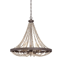 Picture for category Pendants 5 Light With Fossil Stone Finish Candelabra Base Bulbs 30 inch 300 Watts